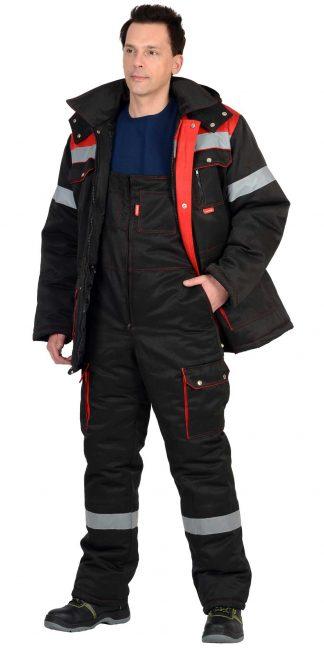 """Костюм """"СИРИУС-ТИТАН"""" зимний: куртка дл., п/комб. черный с красным и СОП-50мм."""