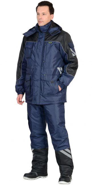"Костюм ""СИРИУС-ФОТОН"" зимний: куртка дл., брюки тёмно-синий с черным и СОП-25 мм."