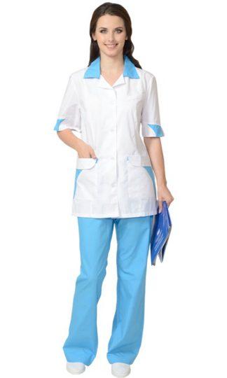 """Костюм """"СИРИУС-МАРГО"""" женский: куртка, брюки белый с голубым"""