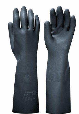 """Перчатки """"БЛЭК ГАУНТЛЕТ"""" , в уп.36пар (латекс, без хлопк. слоя, толщ.0,80мм,дл.450мм.)"""