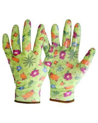 """Перчатки """"САДОВЫЕ"""" зеленые (100%нейлон 13-го кл. вязки,с принтом,покрытие-прозр.нитрил),в уп120пар"""