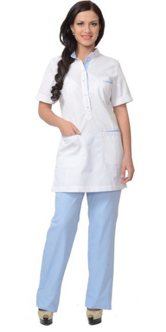 """Костюм """"СИРИУС-ЭВИТА"""" женский: блуза, брюки белый с голубым"""