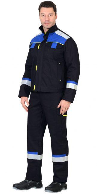 "Костюм ""СИРИУС-БОСТОН"" : куртка, п/комб. синий с вас. и чер. отд. (узб.Саржа)"
