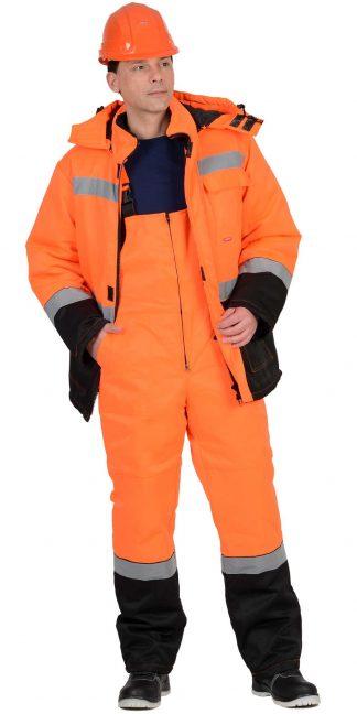 """Костюм """"СИРИУС-МАГИСТРАЛЬ-УЛЬТРА"""" зимний: куртка, п/комб. оранжевый с черным тк. Гретта"""