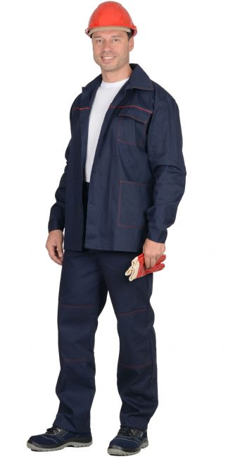 """Костюм """"СИРИУС-Импульс"""" : куртка, брюки синий с красным кантом"""