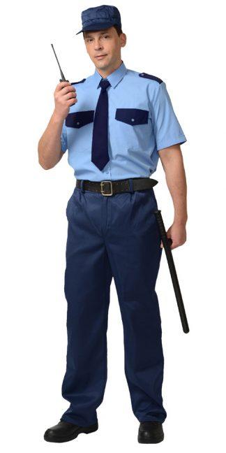 Рубашка Охранника кор. рукав (тк. Вега) голубая с т.синим