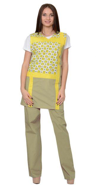 """Комплект """"СИРИУС-ГАЛАТЕЯ"""" женский: фартук, брюки оливковый с желтым"""