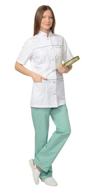 """Костюм """"СИРИУС-ЛАУРА"""" женский: блуза, брюки, (белый с мятным)"""