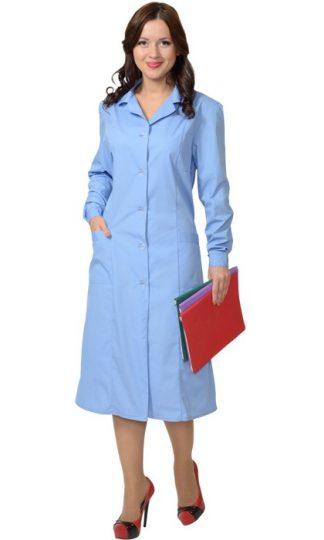 Халат женский с рельефами голубой СТ