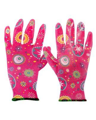 """Перчатки """"САДОВЫЕ"""" розовые (100%нейлон 13-го кл.вязки,с принтом,покрытие-прозр.нитрил),в уп120пар"""