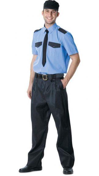 Ремень для охранника кожаный чёрный