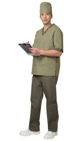 """Костюм """"СИРИУС-РЕАЛ"""" мужской: куртка, брюки, колпак оливковый с хаки"""