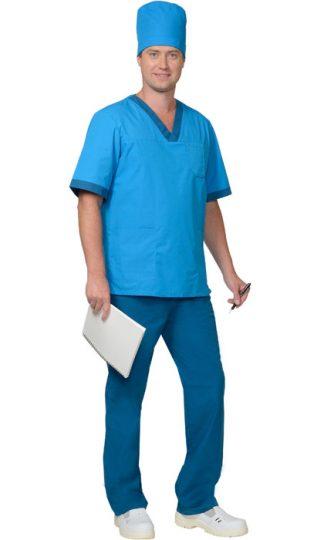 """Костюм """"СИРИУС-РЕАЛ"""" мужской: куртка, брюки, колпак светло-синий с бирюзовым"""