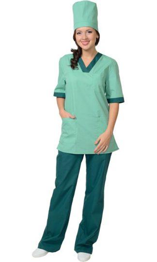 """Костюм """"СИРИУС-СОФИЯ"""" женский: куртка, брюки, колпак светлая мята с тёмно-зелёным (СТ)"""