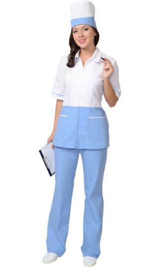 """Костюм """"СИРИУС-СТЕФАНИ"""" женский: куртка, брюки, колпак белый с голубым (СТ)"""