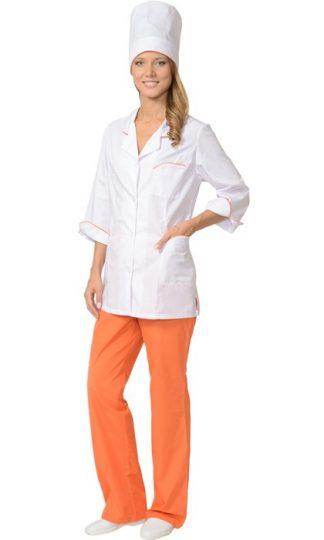 """Костюм """"СИРИУС-ЖАСМИН"""" женский: куртка, брюки, колпак белый с оранжевым"""