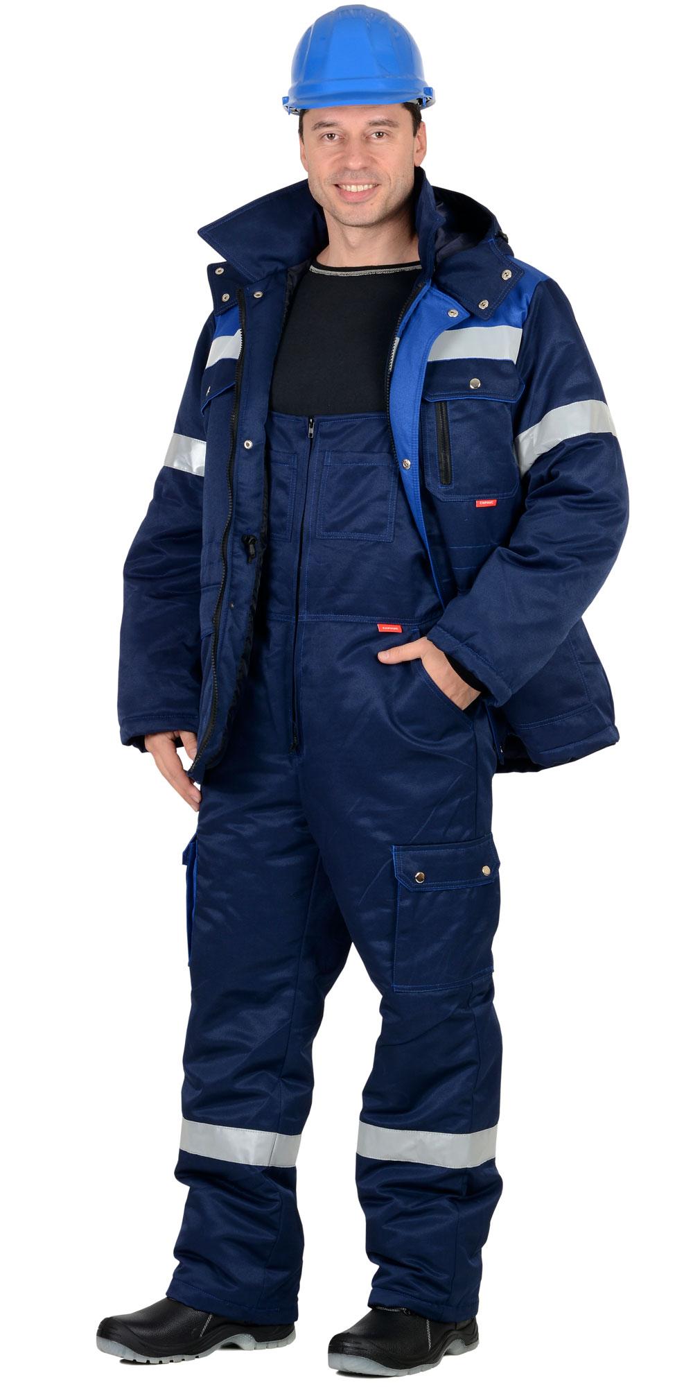 """Костюм """"СИРИУС-ТИТАН"""" зимний: куртка дл., п/комб. т.синий с васильковым и СОП-50мм."""
