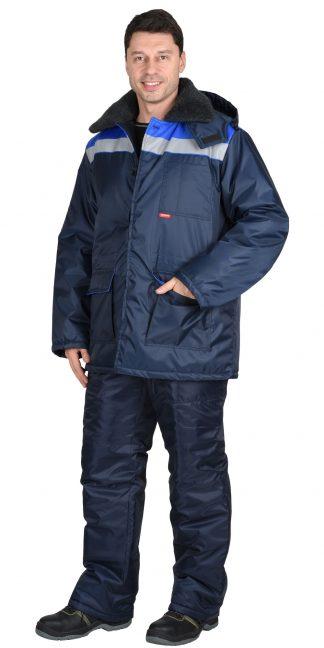 """Костюм """"СИРИУС-СТРОЙГРАД"""" зимний: куртка длинная., брюки темно синий с васильковым и СОП"""