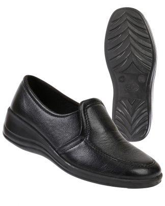 Туфли женские на резинке  черные иск. кожа