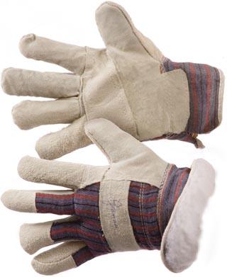 """Перчатки утепленные спилковые комбинированные """"ТАЙГА""""  на искусственном меху (говяжий спилок)"""